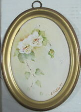 "L Dabbs~original painting~""Still Life"" on the tile(from England)~Oval Frame~1979"