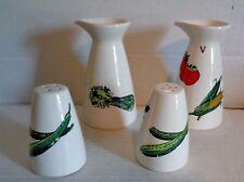 Ceramic Porcelain Oil, Vinegar, Salt & Pepper Vegetable Deco Exc Cond