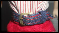 BELT BARBIE MATTEL VTG REPRODUCTION BUSY GAL BLUE RED LINED FASHION ACCESSORY