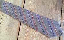 """Mens Neck Tie Charles Jourdan Paris Silk Striped Brown Vintage 3 1/4"""" Skinny #16"""