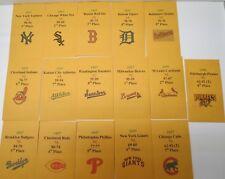 1957 Strat-O-Matic Baseball Printed Storage Envelopes with Stats and Team Logo