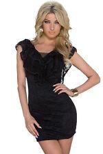 Black Flounce V-neck Lace Sheath Party Mini Dress