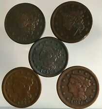 mixed variety lot. Large Cent 1835,1838,1845,1848,1851. Maybe F to F+