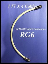 1'FT Pack Of 4 Coaxial RG-6 Cables White