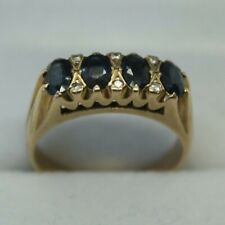 100% Genuine Vintage 9k Yellow Gold 1.0 ct Sapphire & Diamond Ring Size US 6