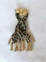 Vintage Enamel Giraffes Love Couple Romantic Black Gold Brooch