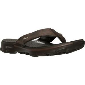 Skechers Mens Go Walk Brown Lightweight Flip-Flops Shoes 11 Medium (D) BHFO 4031