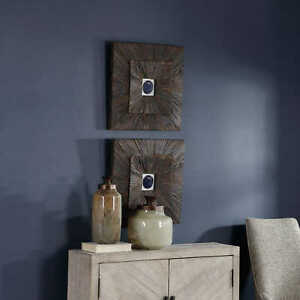 """TWO ANIKA 20"""" NATURAL COBALT AGATE FARMHOUSE WOOD PANEL WALL ART UTTERMOST 04190"""