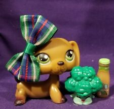 Authentic Littlest Pet Shop #307 #139 Dachshund Puppy Dog Brown Green Dot Eyes