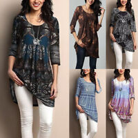 Women Round-Neck Long Sleeve Flower Print Linen Shirt Ladies Casual Loose Blouse