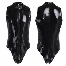Patent Leather Men Nightclub Sleeveless Leotard Bodysuit Catsuit Wetlook Costume