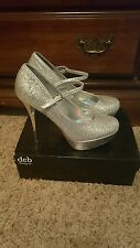 Deb womens silver shiny glitter high heels size 11 strap prom shoes