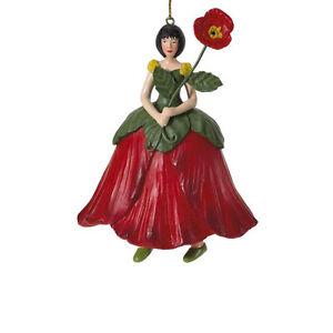Blumenmädchen Fee Deko Figur Mohnblume neu hängend