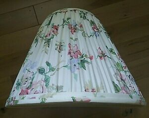 """LAURA ASHLEY Floral FABRIC Pleat LAMPSHADE Pink Green Blue 7 1/4 x 13 1/2 x 11"""""""