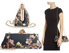 NWT Ted Baker London Nataly Knot Frame Floral Satin Clutch Chain Bag $149