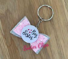 Girls Handmade pink & silver big sister glitter bag charm keyring