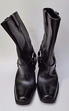 Harley Davidson Boots Heels Shoes Biker Square Toe Black Leather Womens Size 7