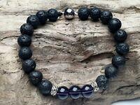 Edelstein Armband Lila Amethyst Lava Perlen Tibet style Magnetverschluss  Ø 8 mm