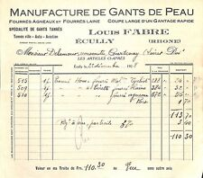 "69 ECULLY FACTURE "" MANUFACTURE GANTS LOUIS FABRE "" 1928"