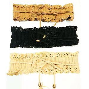 Vintage Cinch Belt Corset Ladies Victorian Gypsy Wide faux Suede Elastic Tassel