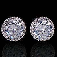 Nice Crystal Women's Sanwood Platinum Plated Zircon Inlaid Ear Stud Earrings