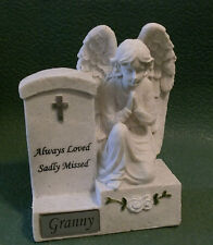 MEMORIAL ANGEL PRAYING BY HEADSTONE GRANNY & VERSE GRAVE CEMETERY ORNAMENT
