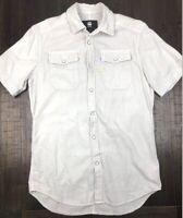 G-Star Raw Mens LANDOH Bone Colour Short Sleeve Pearl Snap Shirt Size Small