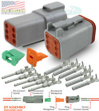 Deutsch 6-Pin Connector  Housing, Pins & Seals Crimp Terminals,14-16 AWG