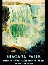Niagara Falls by Train New York United States Travel Advertisement Art Poster