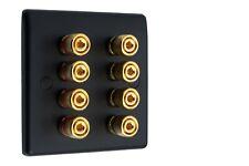 More details for  4.0 speaker wall face plate 8 gold binding posts banana plug 1 gang matt black