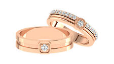 His Her Fine 14K Rose Gold Diamond Wedding Band Sets 0.36 Ct Natural Diamond
