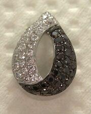 9ct Black White Diamond Donna Pave Set a forma di pera Ciondolo .25ct