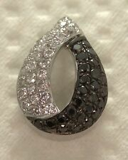 9ct BLACK white DIAMOND ladies WOMENS pave SET pear SHAPED  pendant .25ct