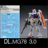 DL Water Decal Stickers for Bandai MG 1/100 RX 78 2 Gundam ver 3.0 Model Gunpla