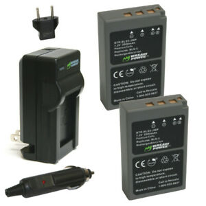 Wasabi Power Battery (2-Pack) and Charger for Olympus BLS-5, BLS-50, PS-BLS5