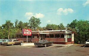 Vintage Chrome Advertising Postcard Mid-Century Steel Village Diner Milford PA