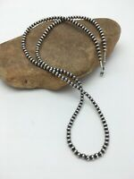 Native American Navajo Pearls 5 mm Sterling Silver Bead Necklace  30 in