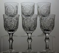 "LEAD CRYSTAL ""PINWHEEL""CUT GLASS SHERRY OR PORT GLASSES SET OF 6"