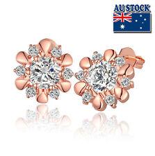 18k Rose Gold Filled 13mm Stud Flower Earrings With Swarovski Crystal