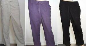 Ladies M&S Cotton Linen Trouser Pants Wide Leg Beach Yoga Spring Summer 6-22