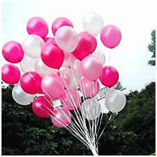 "10"" Hot Pink, Pink & White Pearlised Balloons Love Romantic Valentines Baloons"