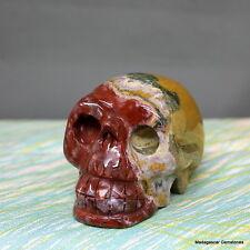 """2.94"""" Amazing Natural Ocean Jasper Skull Carving Reiki Stone, Ojp619"""