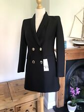 Zara Black Double Breasted Frock Coat Blazer With Gold Buttons XS UK8 # G27