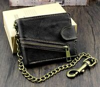 Biker Motorcycle Mens Real Leather Zipper Bifold Wallet Purse With Pants Chain