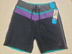 NWT Speedo FLX System Men's Large Prism Violet Swim Shorts Watershorts $58