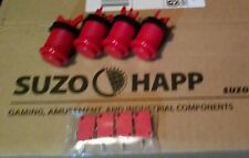 Set of 4 - Red Suzo Happ long arcade button ships from USA