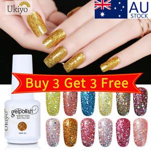 Ukiyo 15ml UV LED Glitter Gel Nail Polish Lacquer No Wipe Top Base Coat AU