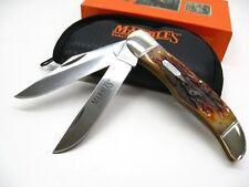 Couteau Marbles Folding Hunter 2 Lames Acier Carbone/Inox Manche Os Housse MR118