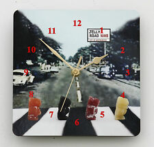 Square Wall Clock Jelly Road Novelty Pop History from the 70's Size 19cm by 19cm