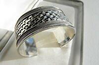 ✨64g sterling silver 925 full HM ✨ CHUNKY Byzantine ✨ style cuff bangle bracelet